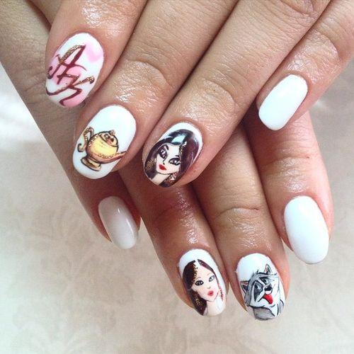 Рисунки шеллаком на ногтях
