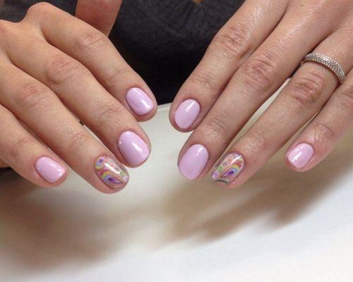 Дизайн шеллака на коротких ногтях