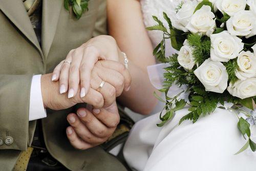 Сплетенные руки жениха и невесты