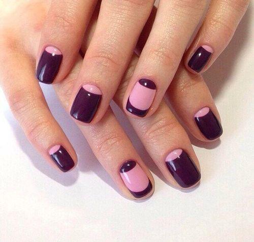 Маникюр с лунками на ногтях снизу